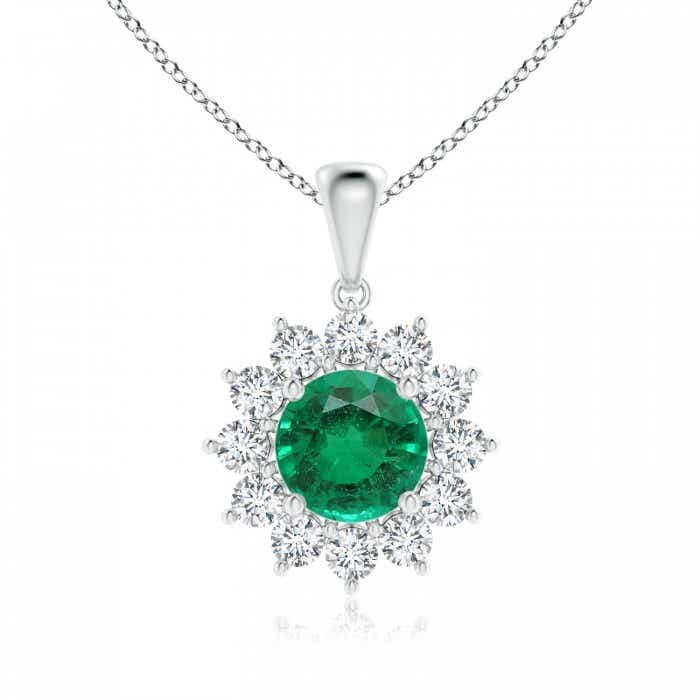 Angara Natural Emerald and Diamond Halo Necklace in Platinum KIk0ZeY