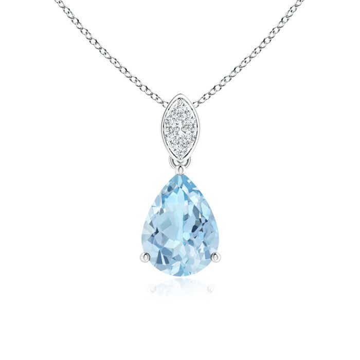 Angara Aquamarine Teardrop Pendant with Diamond in Yellow Gold ELIu7WQ