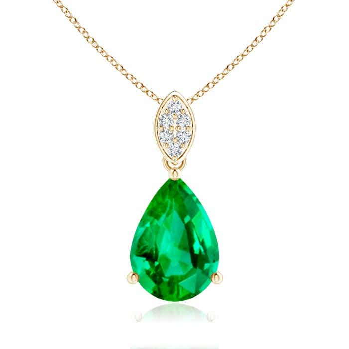 Angara Pear-Shaped GIA Certified Emerald Pendant with Leaf Bale mTLdcqm7c
