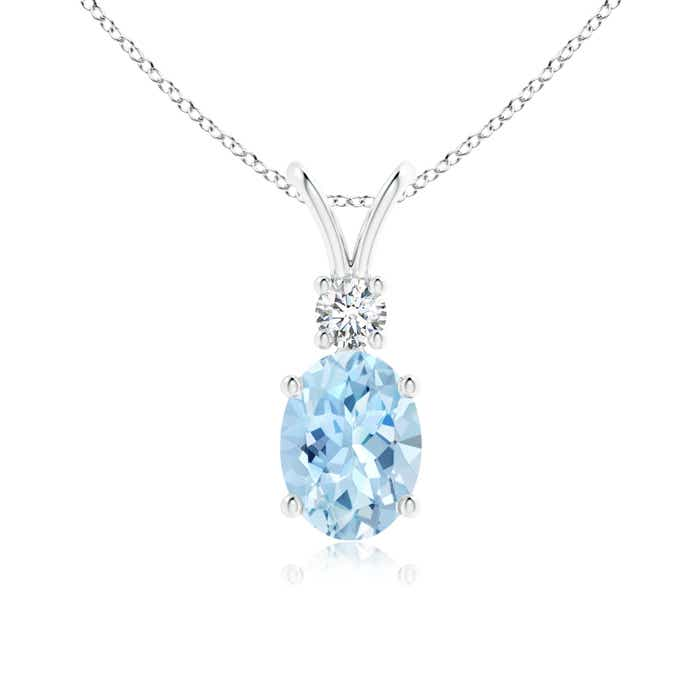 Angara Oval Aquamarine Solitaire Pendant with Trio Diamond
