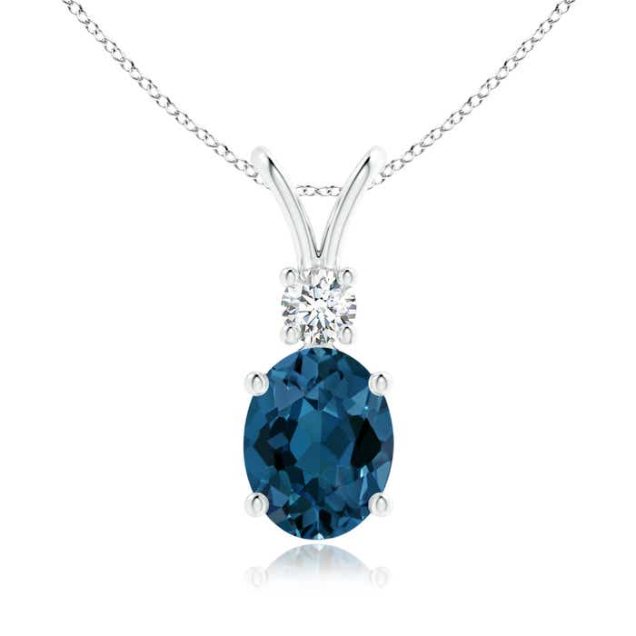 Angara Oval London Blue Topaz Solitaire Pendant with Diamond