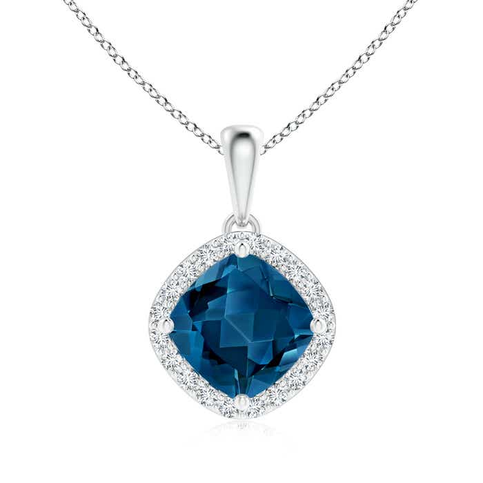 Angara Cushion London Blue Topaz Pendant with Diamond Leaf Bale PxMugEy