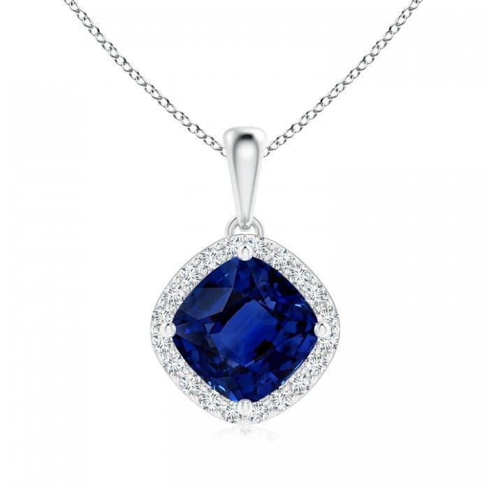 Angara Blue Sapphire Pendant - GIA Certified Cushion Sapphire Double Halo Pendant OPwpHAo