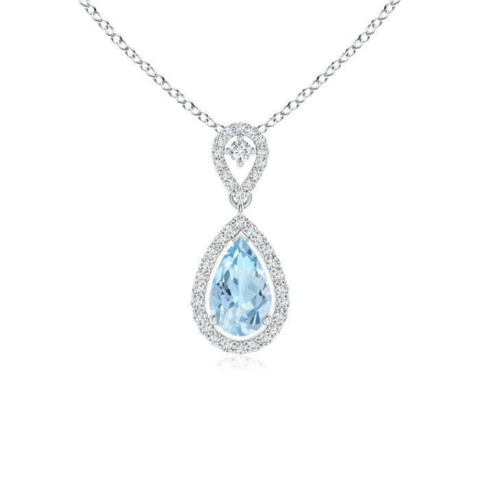 Angara Diamond Halo Aquamarine Drop Pendant in White Gold V8jse59Erk