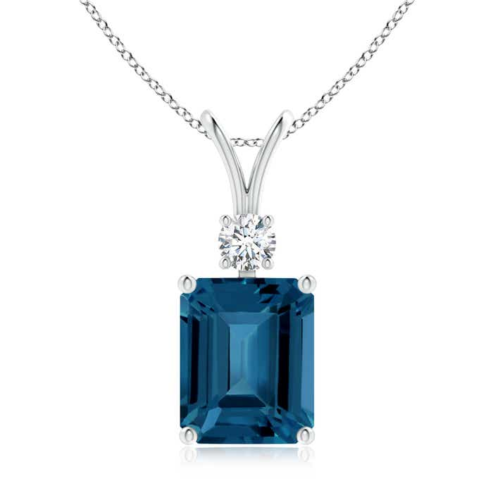 Angara Emerald-Cut Blue Sapphire Pendant with Diamond Trio bjSyeMVZU