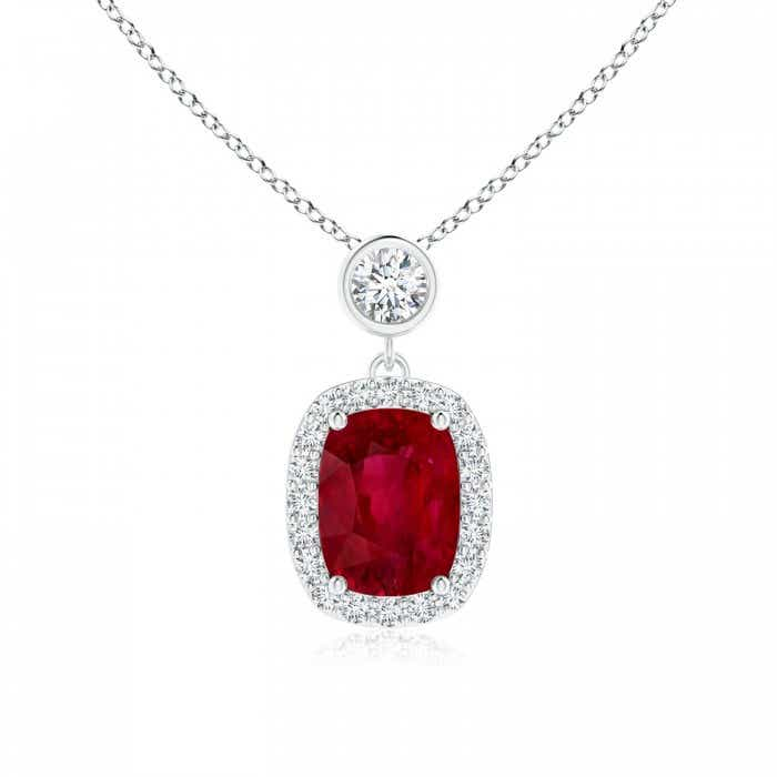 Angara Ruby Pendant - Claw-Set Round GIA Certified Ruby with Diamond Halo QLv9DE