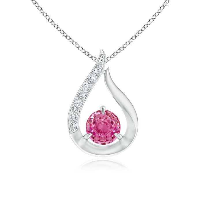 Angara Floating Pink Sapphire Tulip Pendant with Diamonds