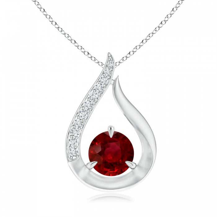 Angara Claw-Set GIA Certified Ruby Clover Pendant with Diamond Halo