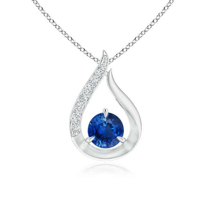 Angara White Gold Tulip Pendant with Blue Sapphire and Diamond Accent GN7NxXlY4