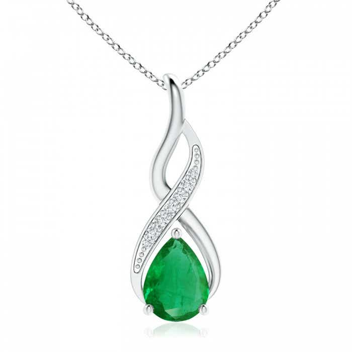 Angara Emerald Pendant - GIA Certified Pear-Shaped Emerald Halo Pendant q8oBeb