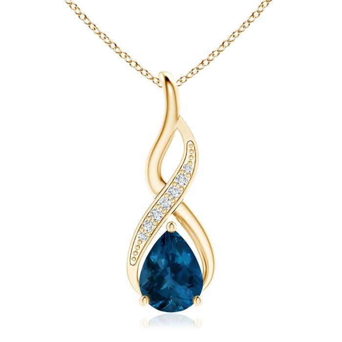 Angara London Blue Topaz Infinity Swirl Pendant with Diamonds b1D8v7yjWR