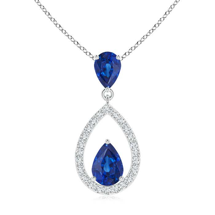 Angara Pear Shaped Blue Sapphire Drop Pendant in White Gold(6x4 MM)