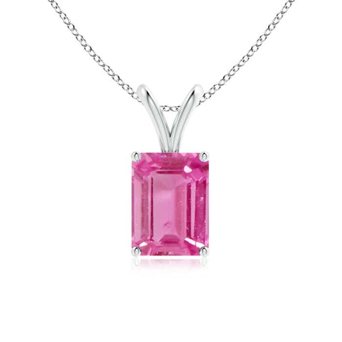 Angara Solitaire Pink Sapphire V Bale Necklace in 14k Yellow Gold 1o2M8VSVf