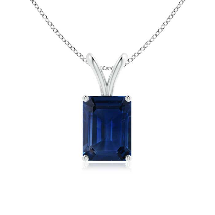 Angara Emerald-Cut Blue Sapphire Solitaire Pendant with V-Bale PljeQiKAtY