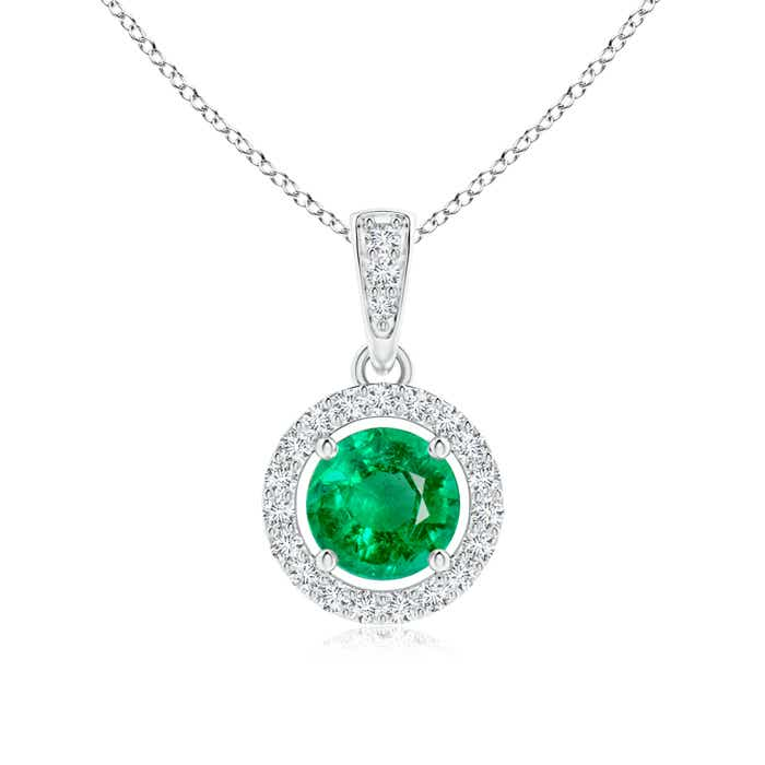 Angara Floating Emerald Pendant with Diamond Halo 0RXVO9I