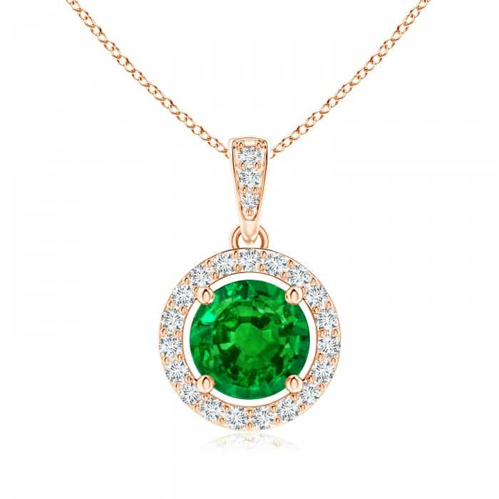 Angara Natural Emerald and Diamond Halo Vintage Pendant in 14k Yellow Gold 0l2lKKDZV1