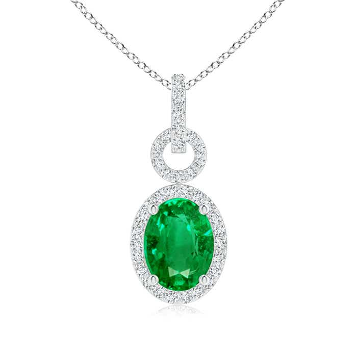 Angara Diamond Halo Emerald Drop Necklace in White Gold Scr6BaACOR