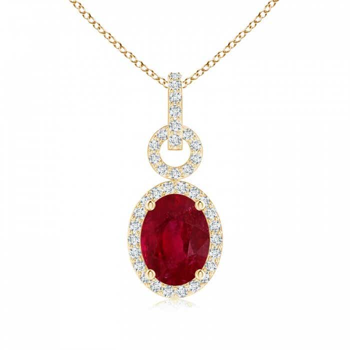 Angara Oval Ruby Flower Pendant with Diamond Halo pvnJ3aQ