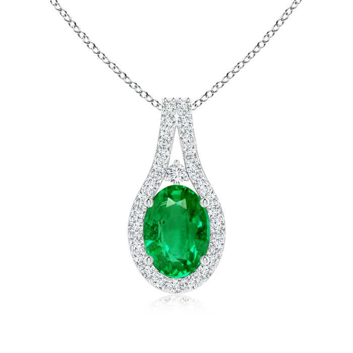 Angara Classic Emerald and Diamond Halo Pendant sfrYA9pksh