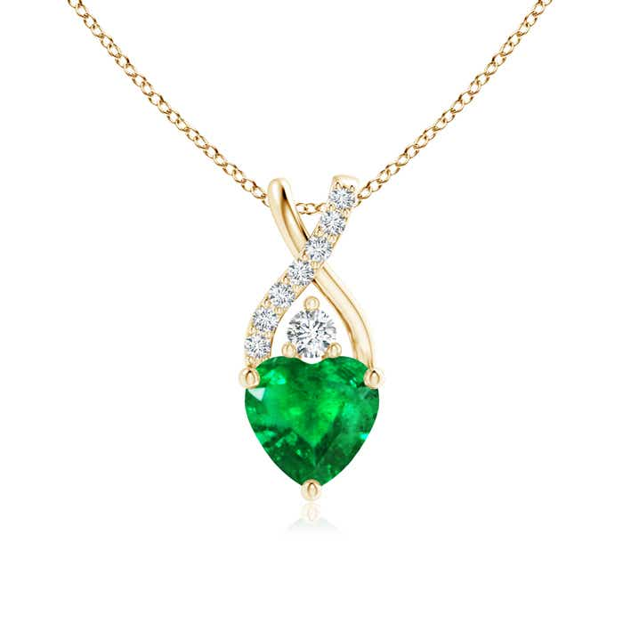Angara Heart Shaped Emerald Pendant in Yellow Gold ltgn2