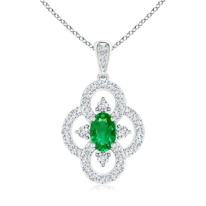 Angara Diamond Framed Emerald Clover Pendant PsbvJu2TLm