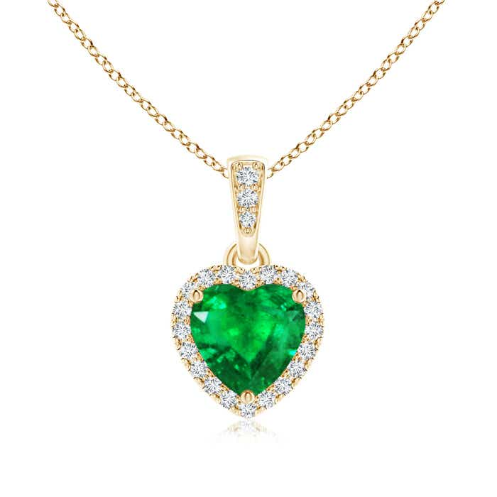 Angara Yellow Gold Diamond Halo Emerald Drop Necklace eJxaPJyyt
