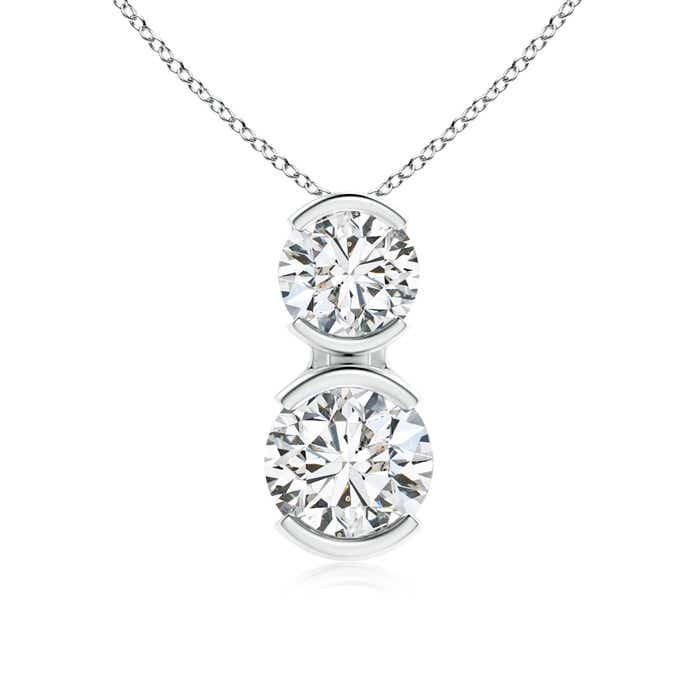 Angara Bezel-Set Three Stone Diamond Necklace gqCGg3w