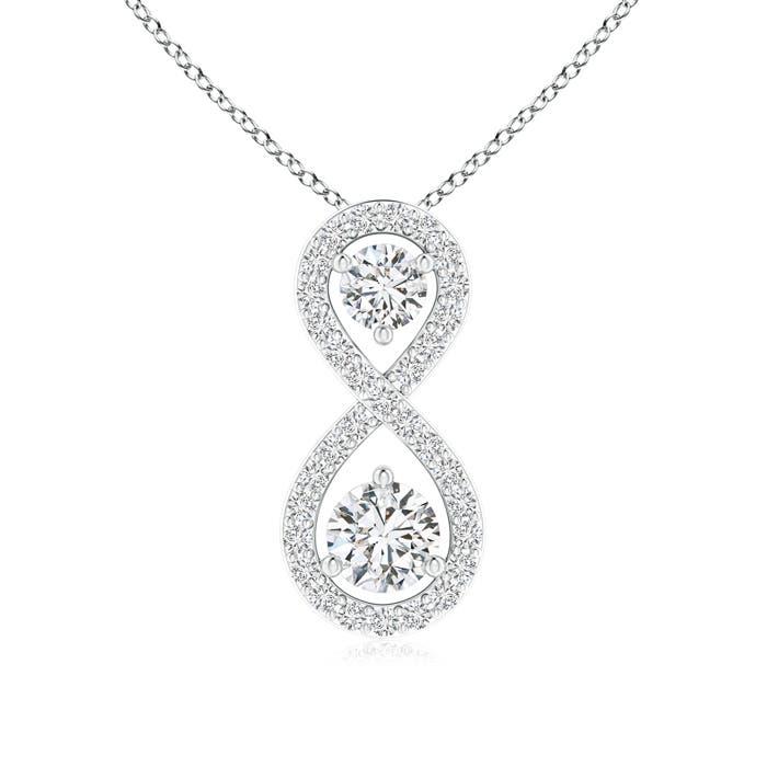Angara Double Diamond Infinity Pendant Necklace EyOo8c
