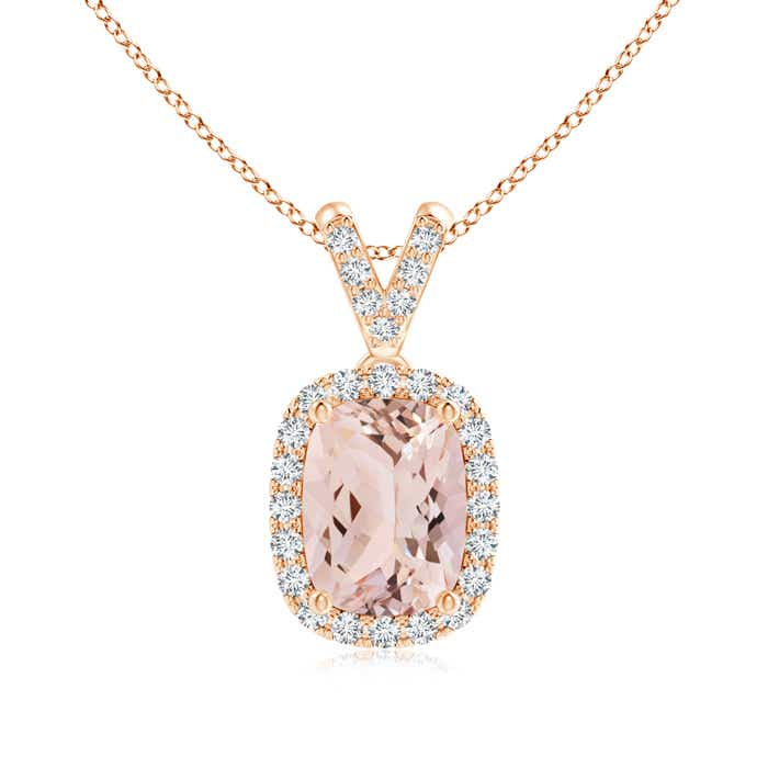 Angara Sideways Cushion Morganite and Diamond Halo Pendant