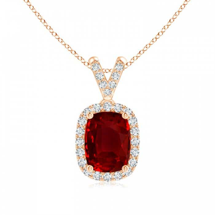 Angara GIA Certified Cushion Ruby Halo Pendant with Diamonds R9LVKq6Z