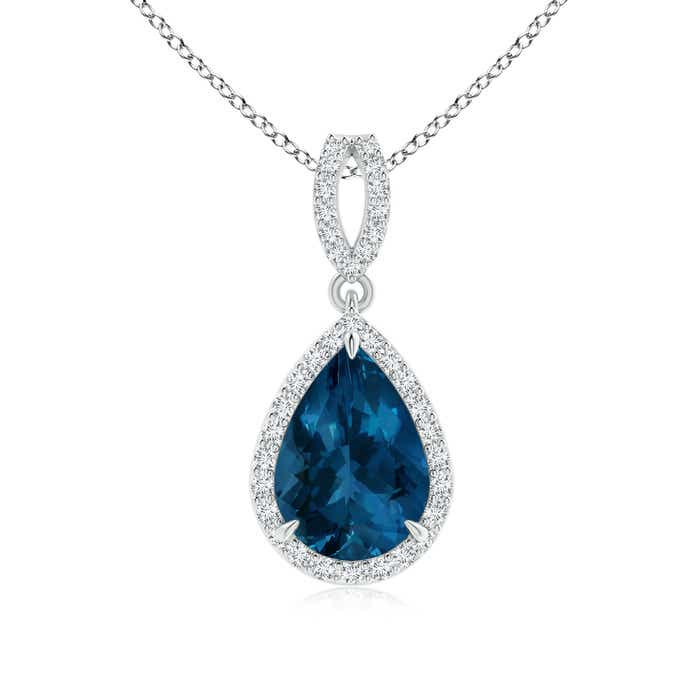 Angara London Blue Topaz Drop Pendant with Diamond Halo in Platinum jZkdp11N4