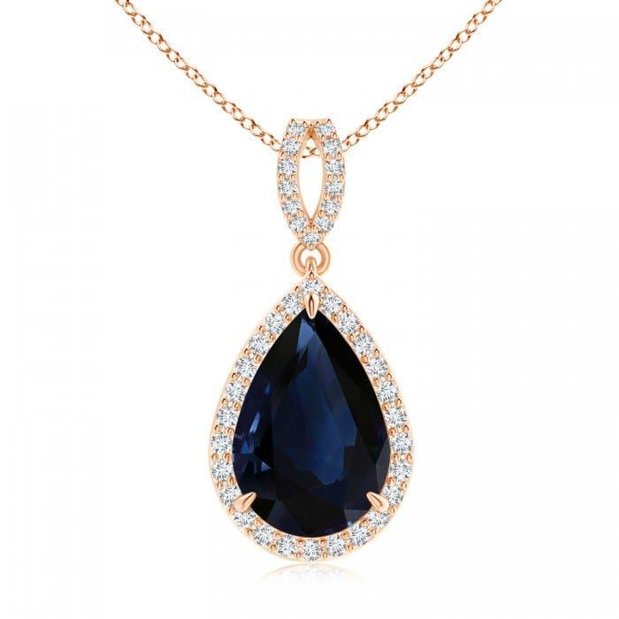 Angara Blue Sapphire Pendant - Vintage Style GIA Certified Pear Sapphire Drop Pendant rndZlALzs