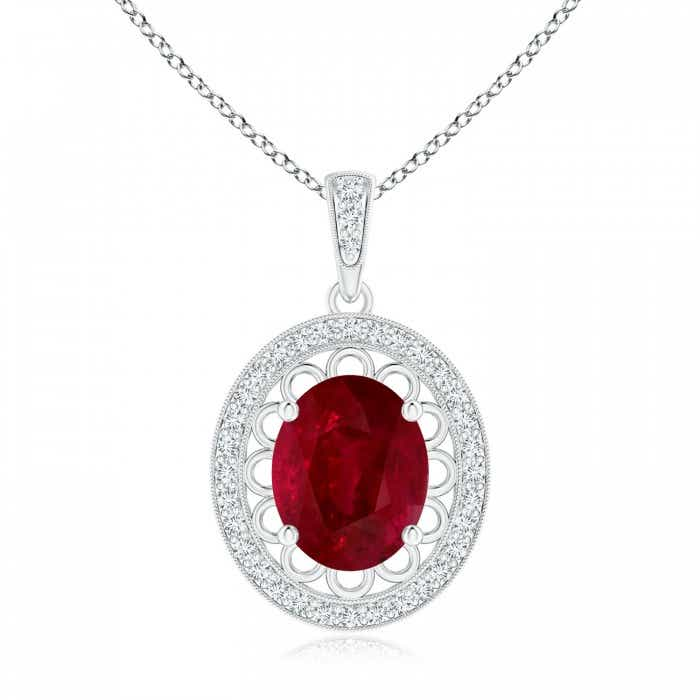 Angara Ruby Pendant - Vintage Inspired GIA Certified Ruby Pendant with Latticework RT6mM9zjv