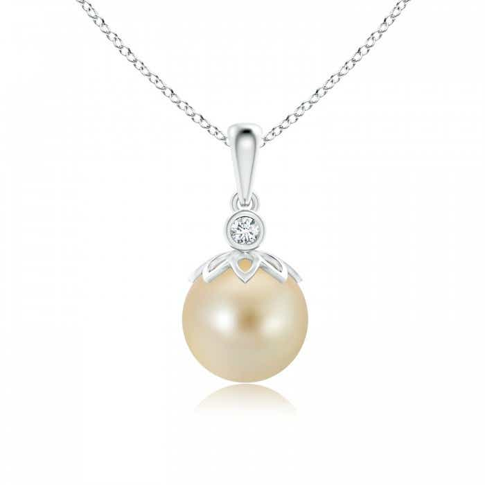 Angara South Sea Cultured Pearl Cage Pendant 9OrChnd