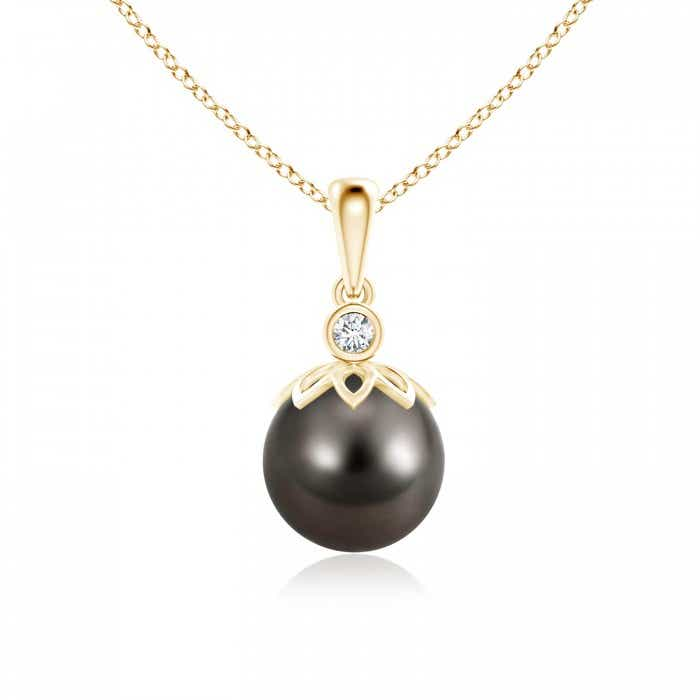 Angara Tahitian Cultured Pearl Halo Pendant with Bezel Emerald