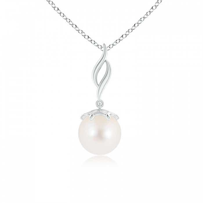 Angara Freshwater Cultured Pearl and Diamond Twist Bale Pendant