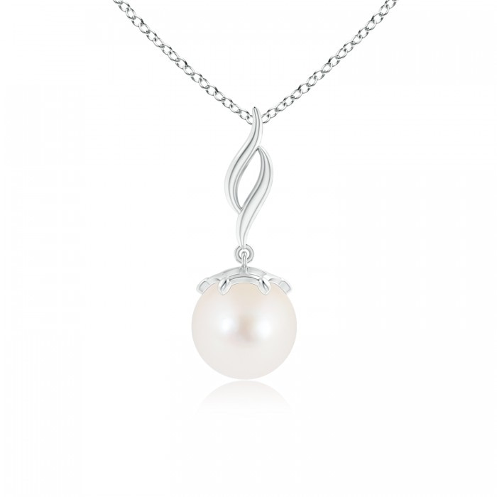 Angara Solitaire Freshwater Cultured Pearl Pendant with Diamonds hLd34sidW