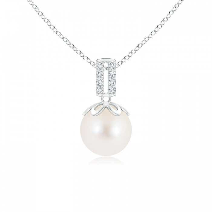 Angara Freshwater Cultured Pearl Pendant with Diamond Cluster J06ozJr0
