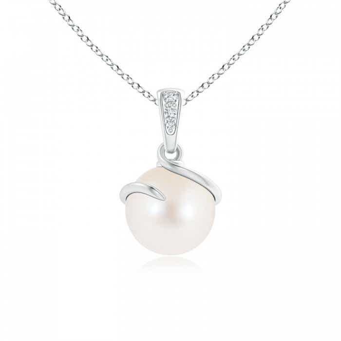 Angara Freshwater Cultured Pearl Pendant with Diamond Twist