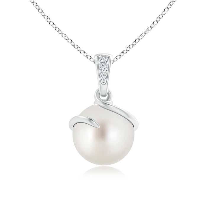 Angara South Sea Cultured Pearl Drop Pendant with Diamonds