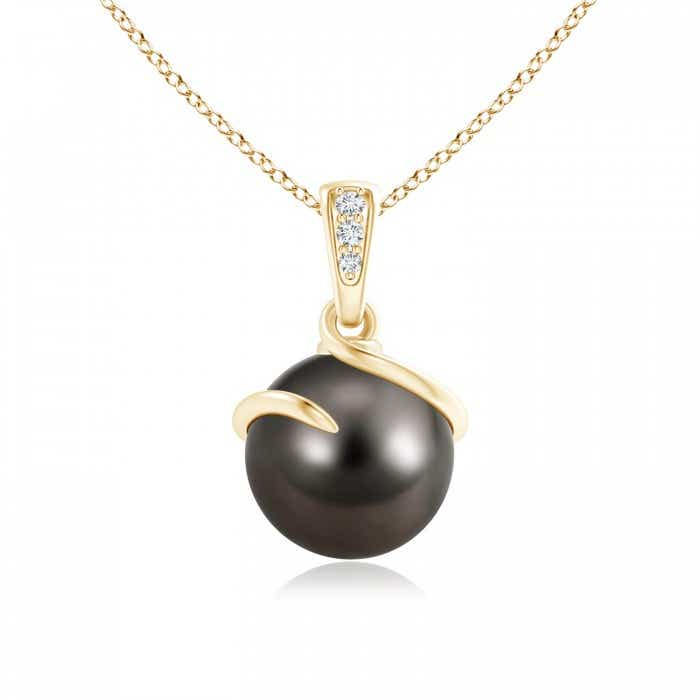 Angara Tahitian Cultured Pearl Spiral Pendant with Diamonds
