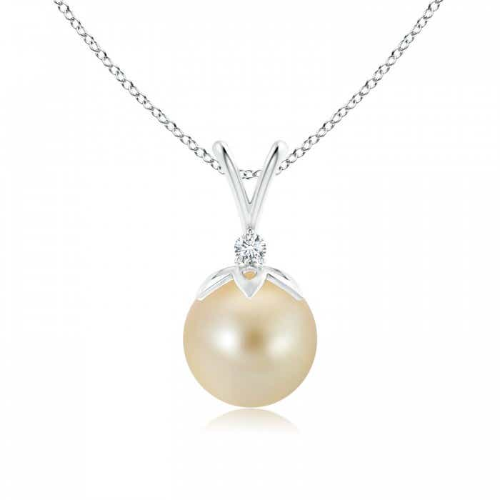 Angara Golden South Sea Cultured Pearl Pendant with Diamond Cluster 8xLoP