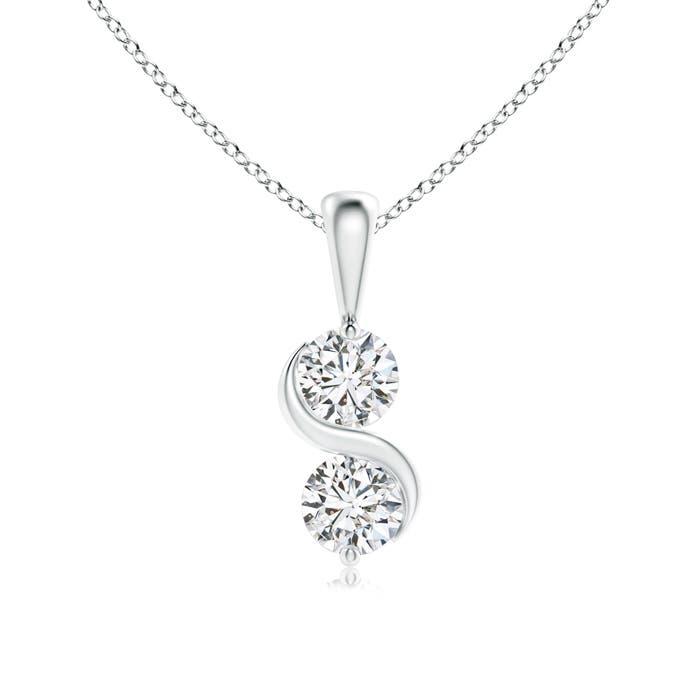 Angara Classic Two Stone Diamond Swirl Pendant cb4y6