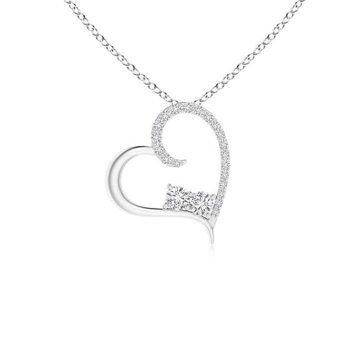 Angara Diamond Tilted Ribbon Heart Dangle Pendant 3b8Uo4u