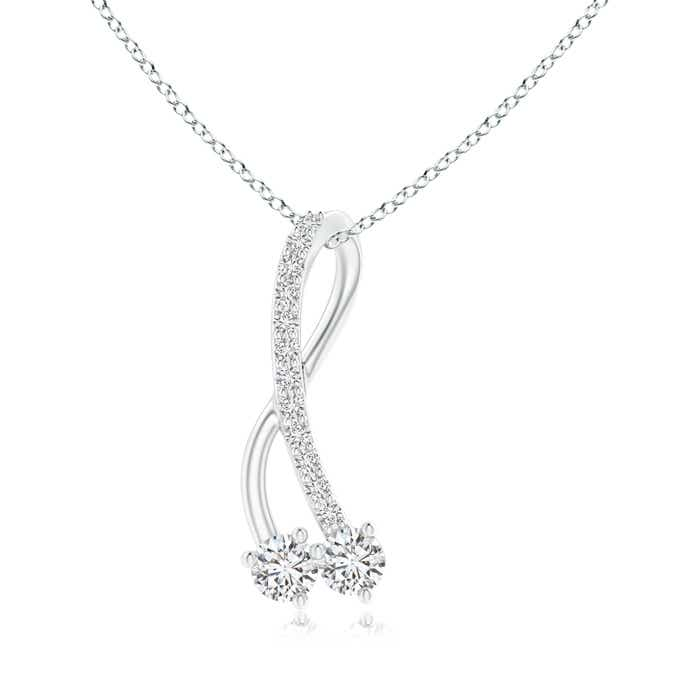 Angara Twisted Two Stone Diamond Ribbon Earrings KOFEfT