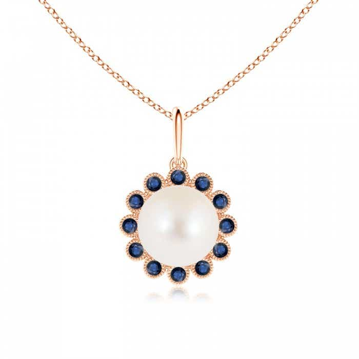 Angara Freshwater Cultured Pearl Halo Pendant with Milgrain; Pearl Pendant & Pearl Necklace 50A1O4
