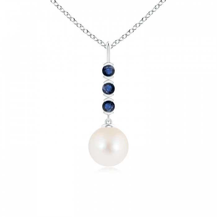Angara Freshwater Cultured Pearl Drop Pendant with Sapphires gRNVDRjOZ