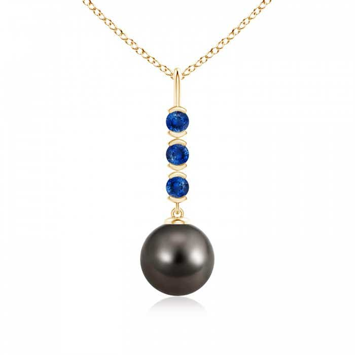Angara Tahitian Cultured Pearl Drop Pendant with Sapphires iahO17B