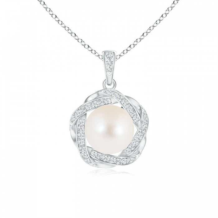 Angara Freshwater Cultured Pearl Pendant with Braided Diamond Halo YZS8F