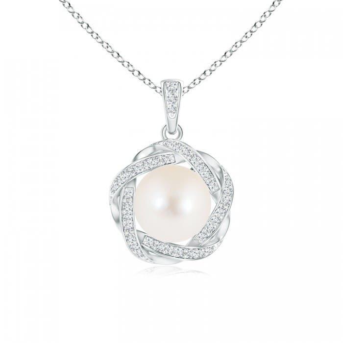 Angara Freshwater Cultured Pearl Clover Pendant with Diamond Halo Q5KLar